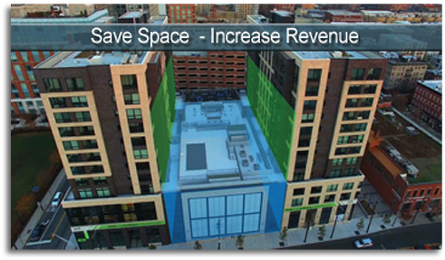 Building showing space saved with Unitronics automated parking solution