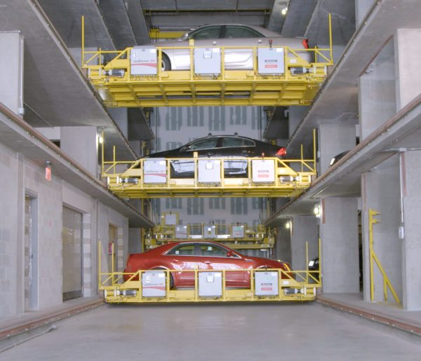 Unitronics Shuttle automated parking solution in action with three lifts