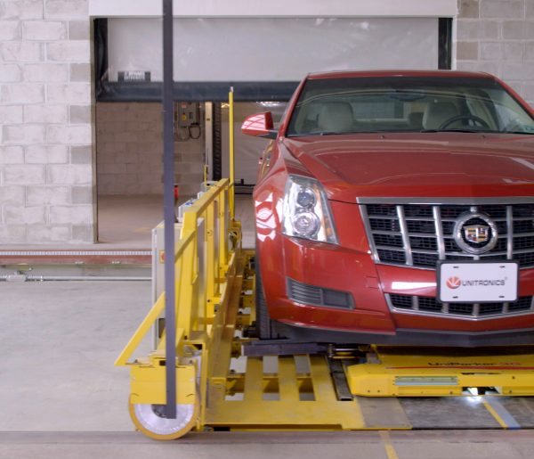 Car on Unitronics Lift in shuttle automated parking solution