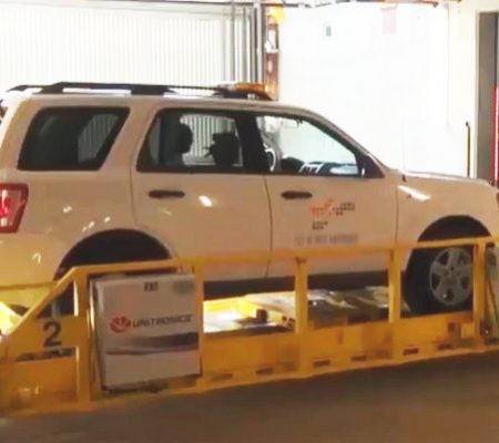 SUV in a Unitronics Automated Parking Shuttle System